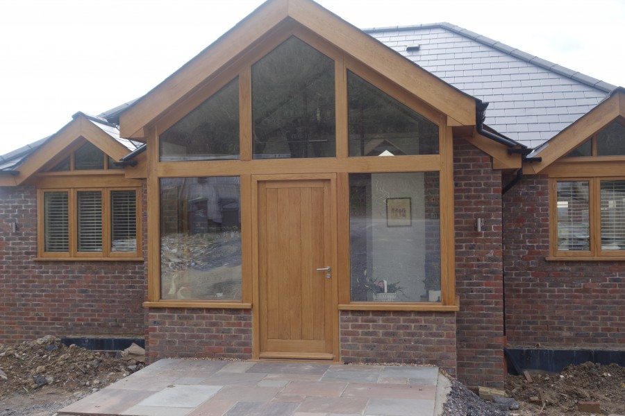 Oak frame and glazed oak entrance porch