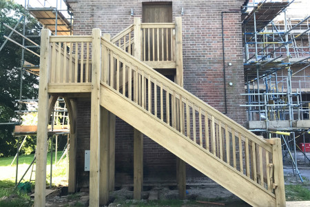 Solid Oak External Staircase