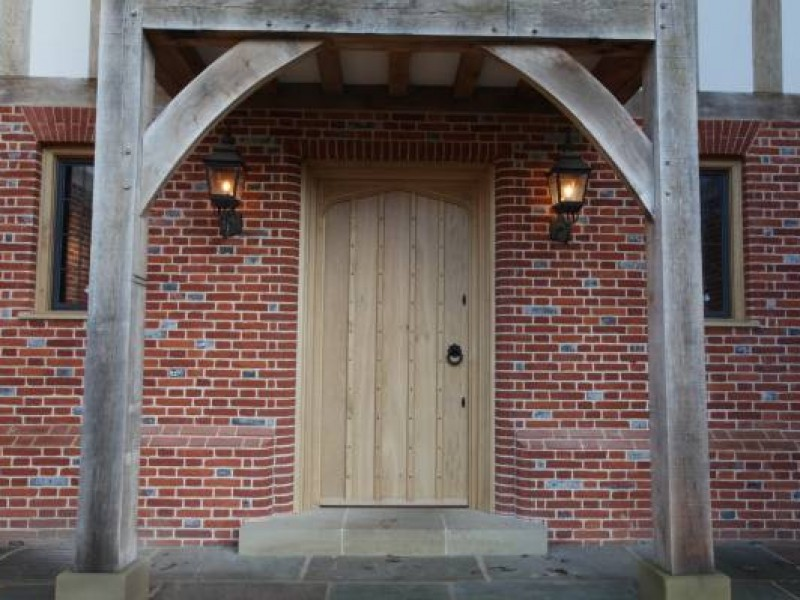 Oak Entrance Door with Carved Head