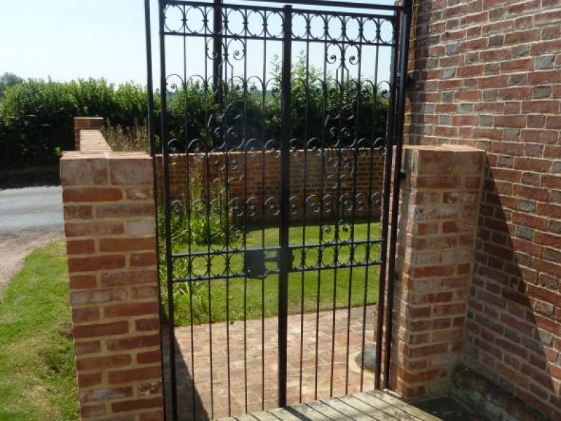 Brick wall, Path & Iron Entrance Gate