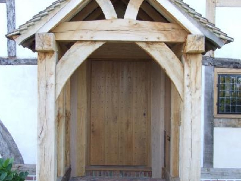 Oak Porch & Door with Rosehead Nails