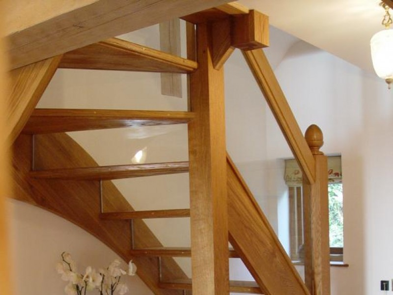 Winding Staircase with Glazed Treads