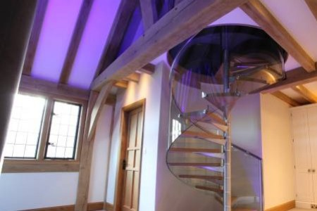Modern Glass & Oak Staircase